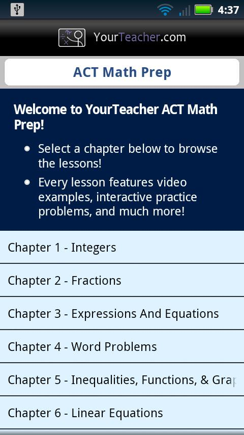 ACT Math Prep- screenshot
