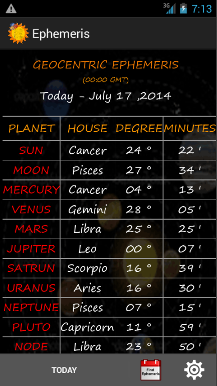 Ephemeris- screenshot