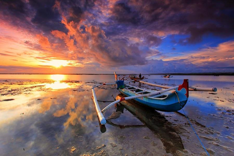 Clouds Reflection by Komang Sunantara - Landscapes Sunsets & Sunrises ( water, reflection, sunset, rise, sunrise, seascape, landscape, boat, sun,  )