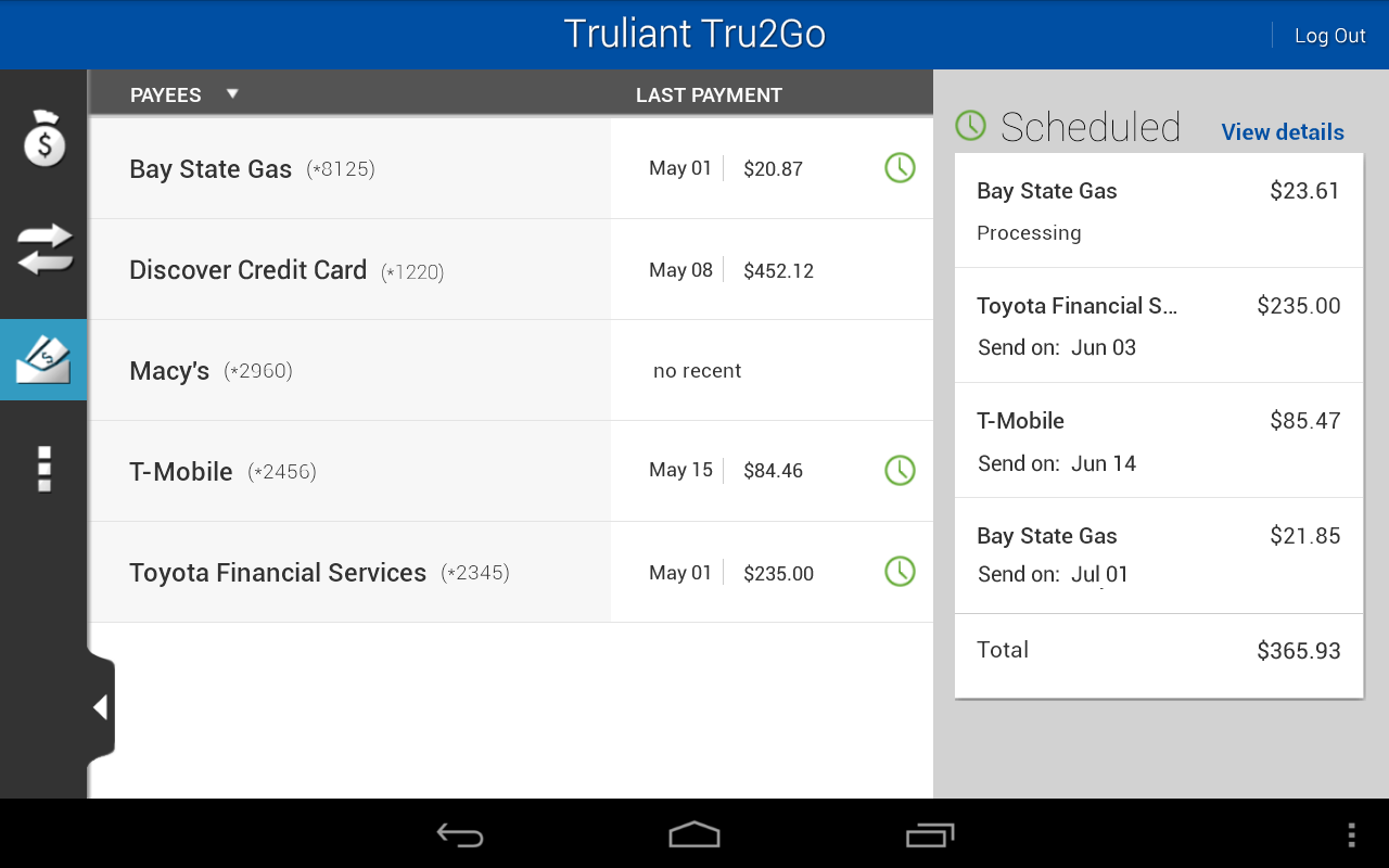 Tru2Go Truliant Mobile Banking - screenshot