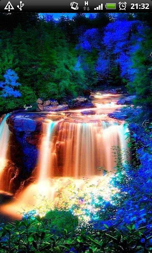 Blue Sparkle Waterfalls LWP