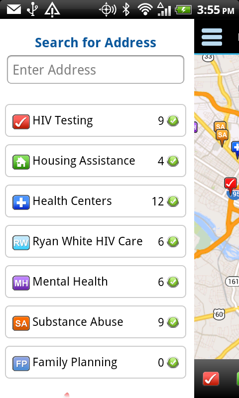 HIV Testing & Services Locator - screenshot