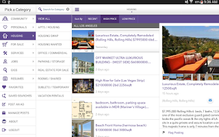 Screenshot of Mokriya Craigslist Android app