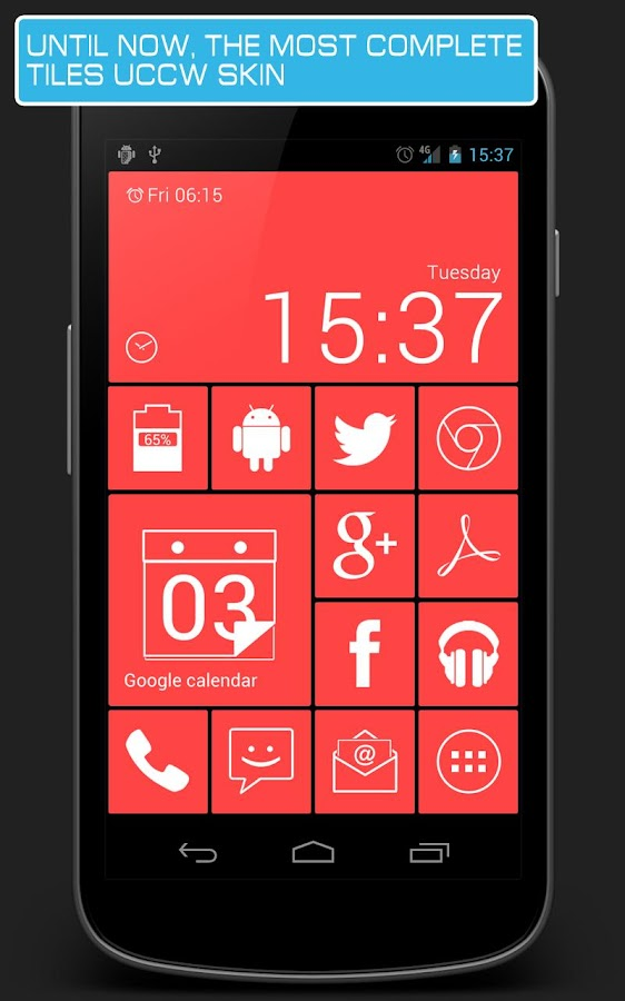 Android Tiles red - UCCW skin - screenshot