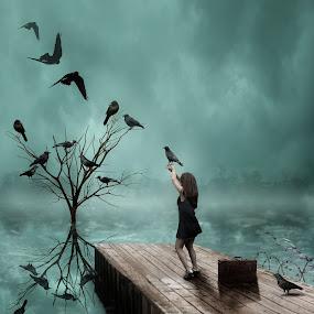 by Michael Dalmedo - Digital Art Things ( inspiration, tree, digital art, pier, lake, birds, ravens,  )