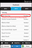 Screenshot of Indian Festivals Calendar