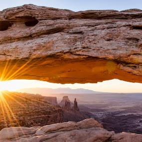 Mesa Arch at sunrise by Jeffrey Genova - Landscapes Sunsets & Sunrises ( moab, arch, utah, southwest, sunrise, mesa arch, sun, Earth, Light, Landscapes, Views,  )