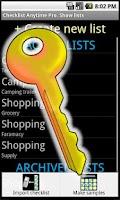 Screenshot of Checklist Anytime KEY