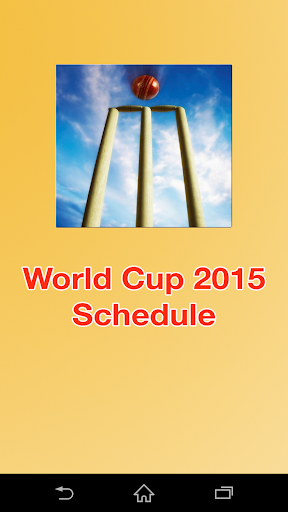 World Cup 2015 Scheule