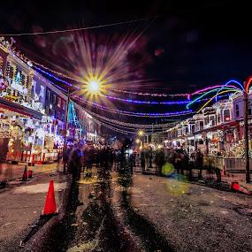 New Year's eve. by Fran Kat - City,  Street & Park  Street Scenes ( night lights, people, city, nightscape, holiday, lights, urban, night photo, night photography, lighting, lifestyle, light trails, night, long exposure, celebration, longexposure, nightscapes, , mood, mood factory, christmas, hanukkah, red, green, artifical, colors, Kwanzaa, blue, black, celebrate, tis the season, festive )
