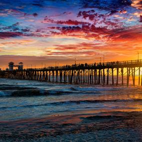 Oceanside Pier by Alan Crosthwaite - Landscapes Beaches ( oceanside, piers, southern california, waves, sunset, pier, tourism, travel, destination )