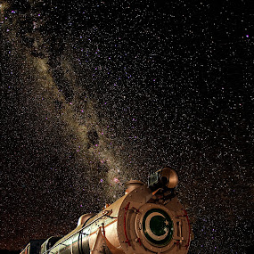 Locomotive rising ! by Agha Ahmed - Transportation Trains ( milkyway, railway, engine, stars, railroad, locomo, train, night, express, nightscape )