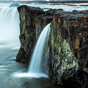 Godafoss Waterfall In Iceland by Lillian Molstad Andresen - Landscapes Waterscapes ( godafoss, water, may, mountains, iceland, waterfalls, nature, 2014, moss, landscape, rocks )