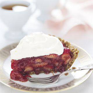 Strawberry Icebox Pie with Almond Crust.