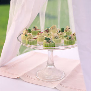 Wasabi Lime Crab Salad in Cucumber Cups.