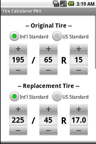 Tire Size Comparison >> Tire Calculator PRO - Android Apps on Google Play