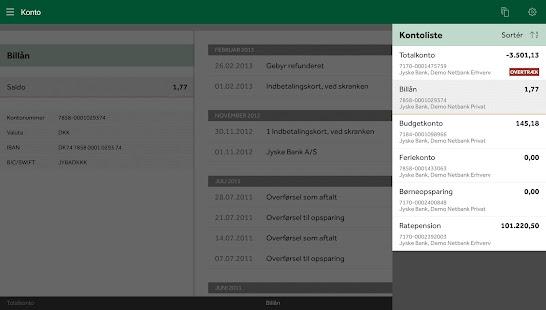 Jyske Mobilbank med Swipp - screenshot thumbnail