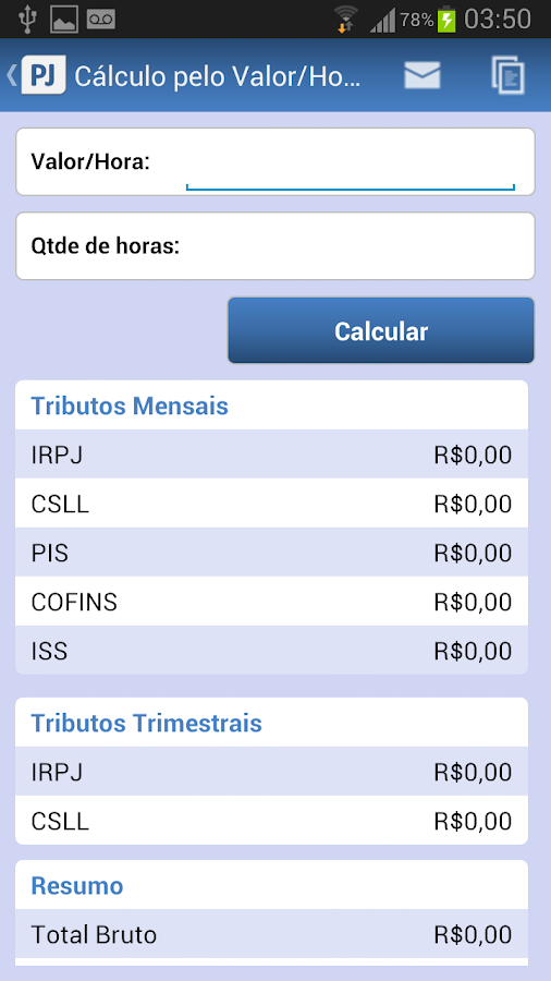 Calculadora de Tributos PJ: captura de tela