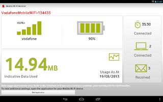 Screenshot of Vodafone Mobile Wi-Fi Monitor