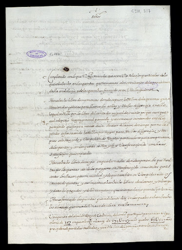 Letter about the accounts of Miguel de Cervantes.