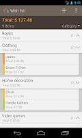 Screenshot of Wish list: Shopping buddy