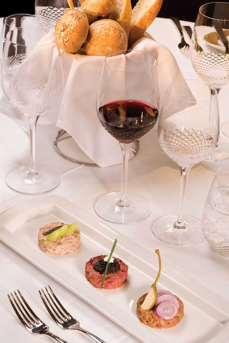 A tartare appetizer served in the Prime 7 restaurant aboard Seven Seas Voyager.
