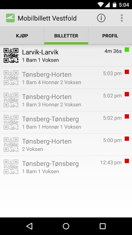 VKT Mobilbillett- screenshot
