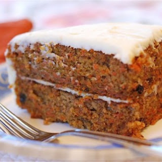 Moist Carrot Cake with Cream Cheese Frosting.