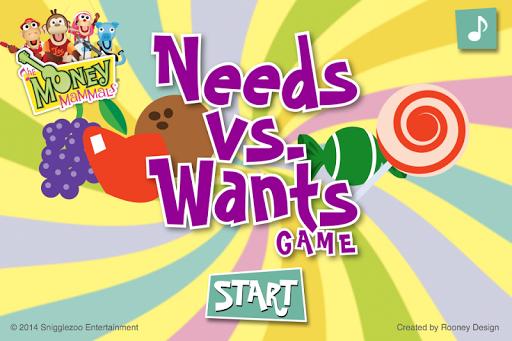 Money Mammals ® Needs vs Wants