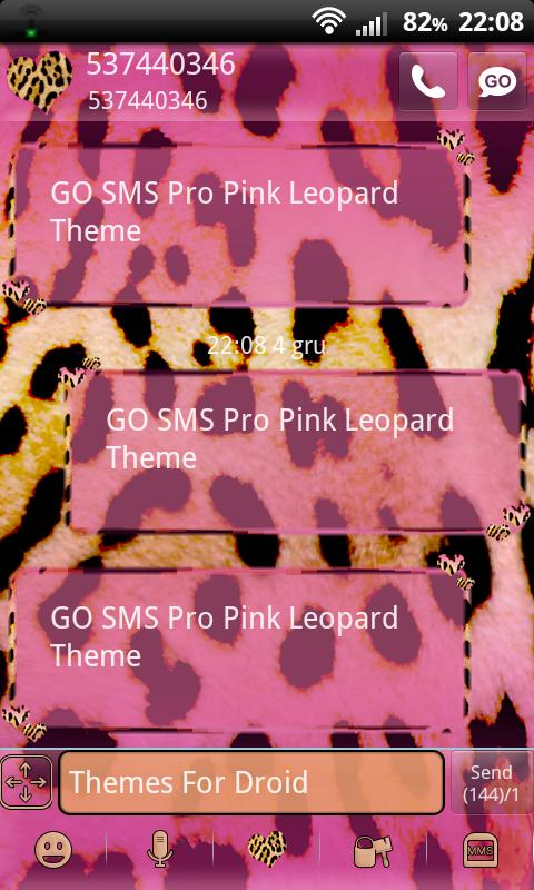 Pink Leopard Theme for GO SMS- screenshot