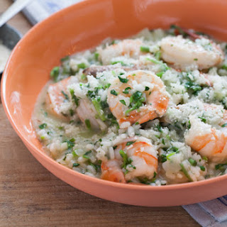 Shrimp Risotto with Watercress.