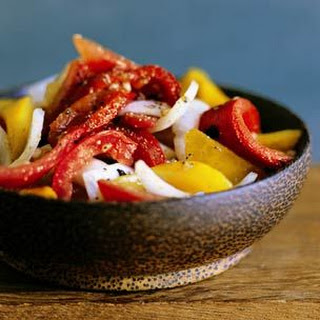 Grilled Red Pepper, Sweet Onion and Tomato Salad