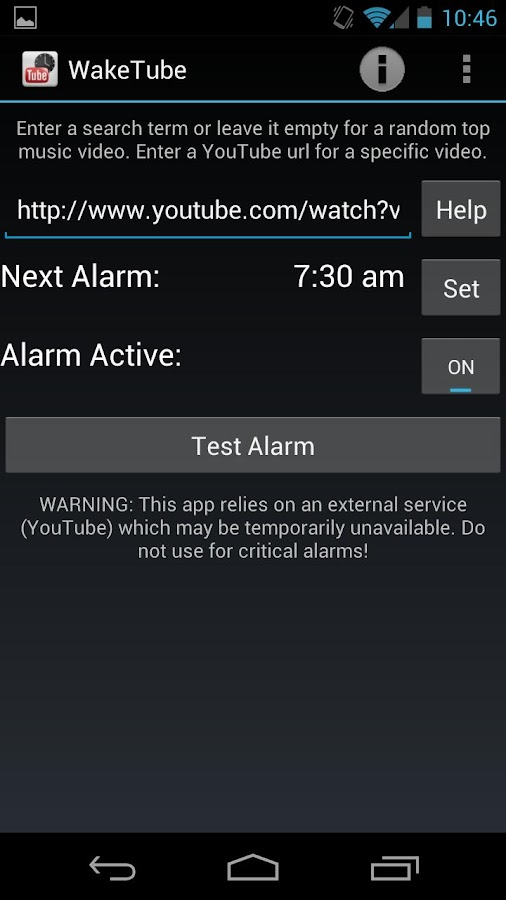 WakeTube - YouTube Alarm Clock - screenshot