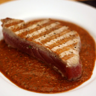 Grilled Tuna with Red Tomatillo Sauce