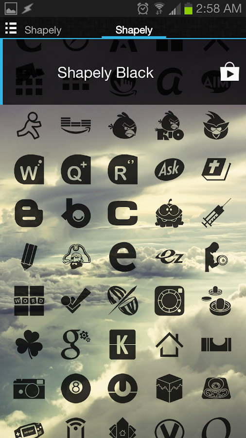 Shapely Black Icons - screenshot