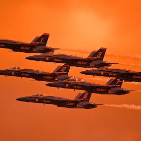Evening Angels by Greg Harcharik - Transportation Airplanes ( evening blue angels pensacola florida,  )
