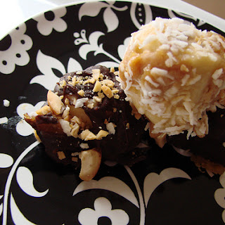 Peanut Butter Banana Bites With Chocolate, Coconut & Cashews.