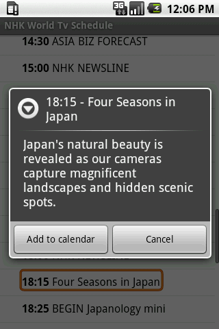NHK World Tv Schedule - screenshot