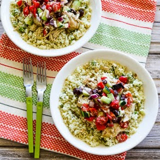 Slow Cooker Cauliflower Rice Greek Chicken Bowl (Low-Carb, Gluten-Free, Can Be Paleo).
