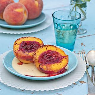 Peach Brûlée with Honey Crème Anglaise