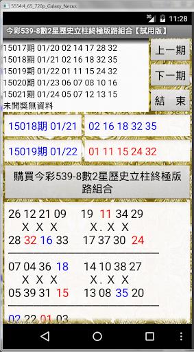 08今彩539-8數2星歷史立柱終極版路組合【試用版】