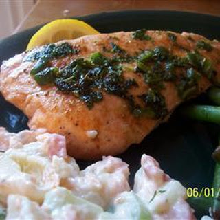 Salmon With Spicy Coriander Sauce.