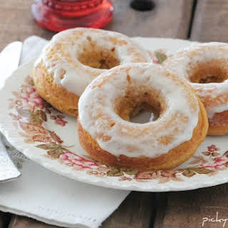 Baked Pumpkin Ice Cream Glazed Donuts.