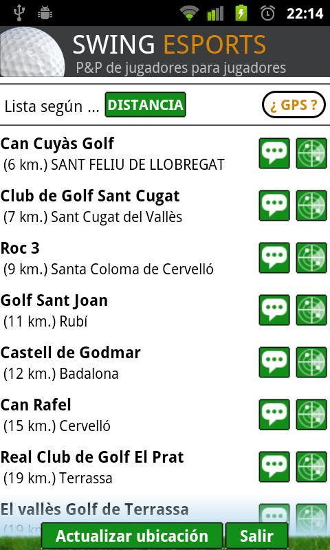 swing golf, campos y asistente- screenshot