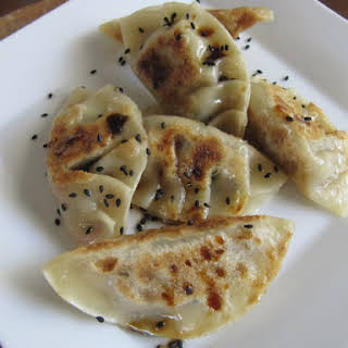Spring Gyoza with Shiitake, Chives, Radish and Roasted Garlic.