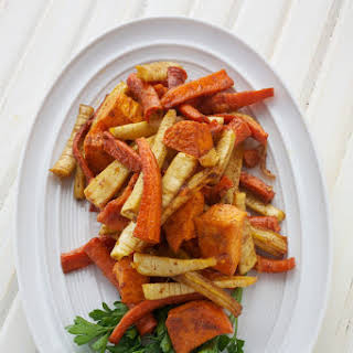 Sweet and Spicy Roasted Root Vegetables.