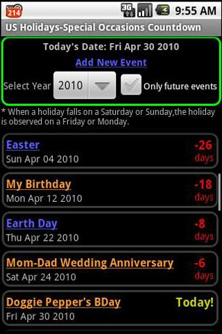 US Holidays-Special Occasions - screenshot