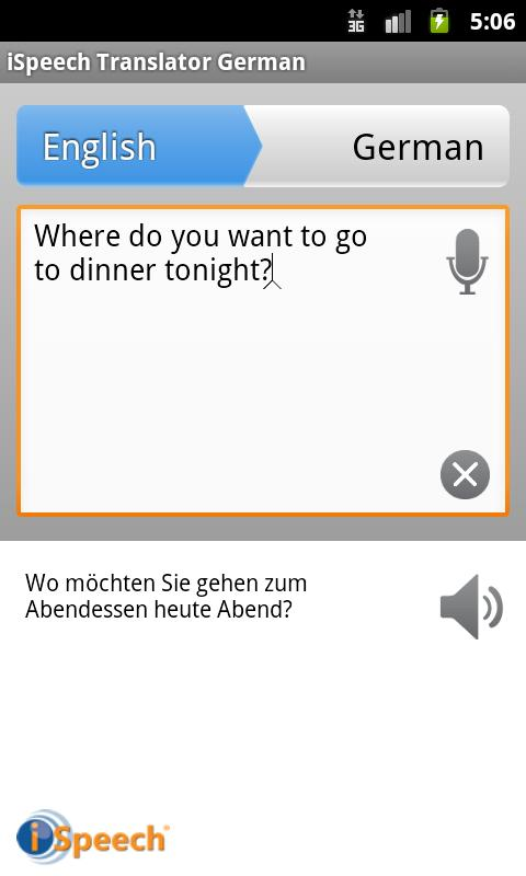 iSpeech German Translator- screenshot