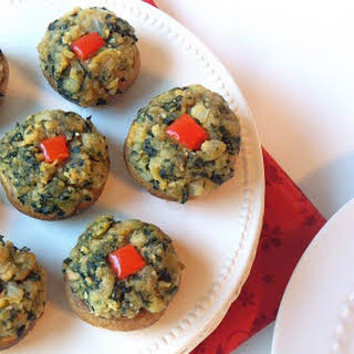 Spinach & Ritz Cracker Stuffed Mushrooms.