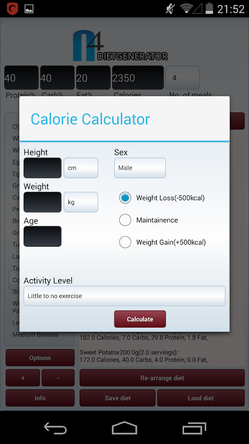 N4 Diet Generator / Planner- screenshot